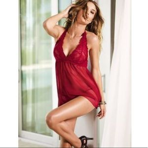 Victoria's Secret Intimates & Sleepwear - Victoria Secret Sexy Red Lacey Halter Chemise Slip